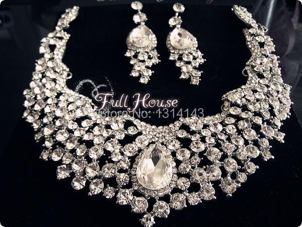 Sale Promotion Tl074 Teardrop Czech Crystal Wedding Bridal Jewelry Sets African Set Choker Necklace Earrings Free Shipping