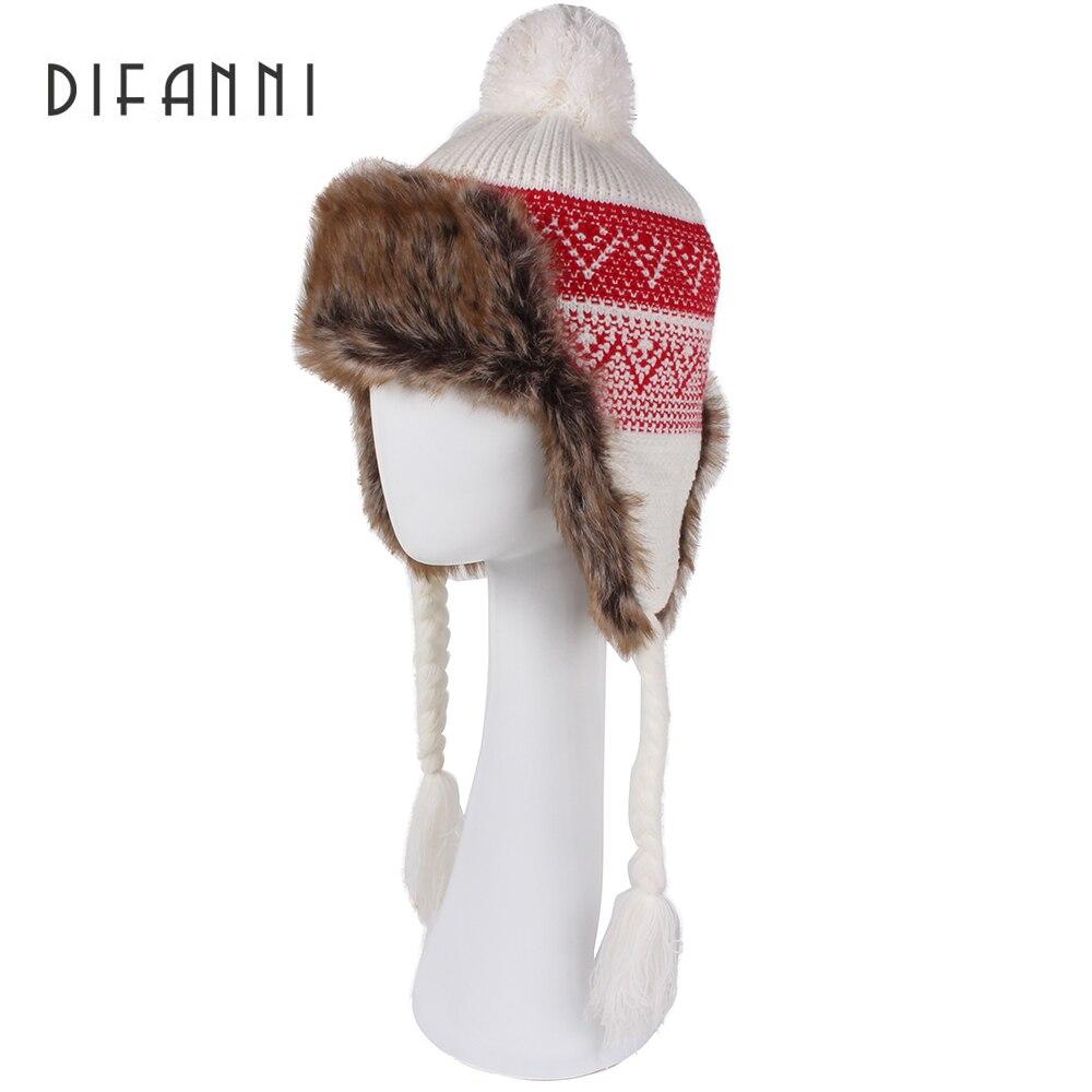 Image Difanni Winter Hat Bomber Hats For Men Women Thicken Balaclava Cotton Fur Winter Earflap Keep Warm Caps Russian Skull Mask 138