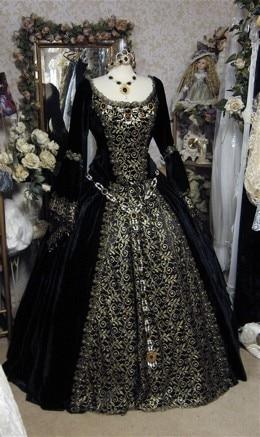 Black Renaissance Wedding Gown Gothic Renaissance or Medieval Fantasy  Wedding Set Custom Dresses ab67818810f1