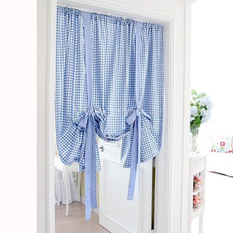 Kitchen Short Curtains Plaid Roman Blinds Door Curtain