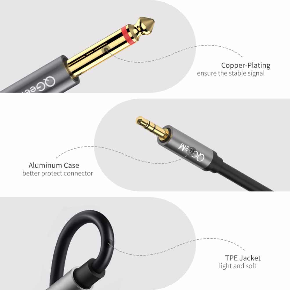 QGeeM Jack 3.5mm do 6.35mm * 2 Adapter Audio kabel do miksera głośnik wzmacniacz pozłacany 6.5mm 3.5 Jack Splitter Audio Cable