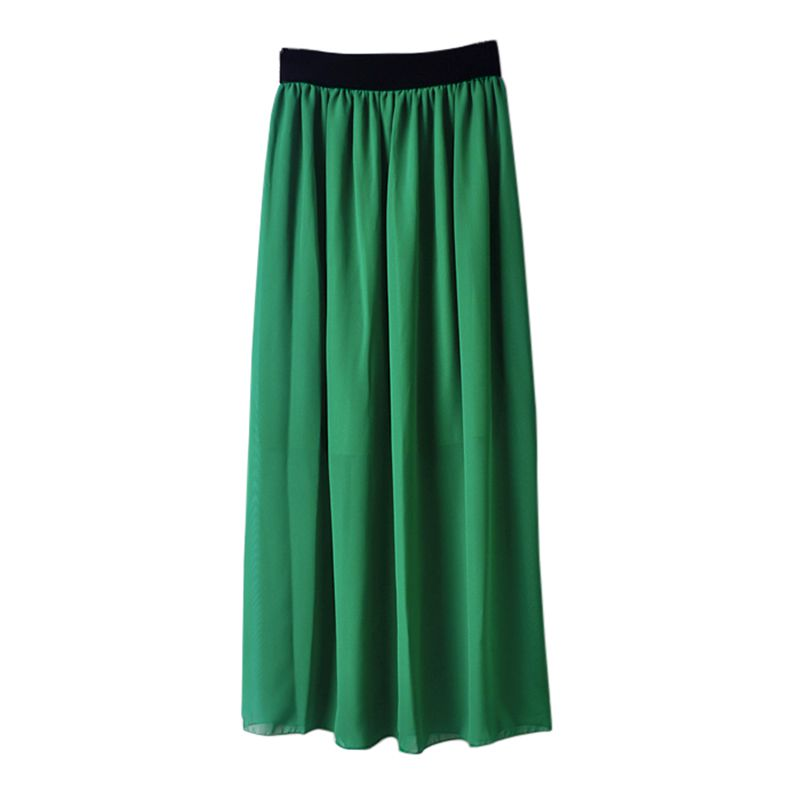 Women Summer Elastic Waist Long Skirt  Fashion Solid Double Layer Chiffon Pleated Skirts High Waist Female Skirt