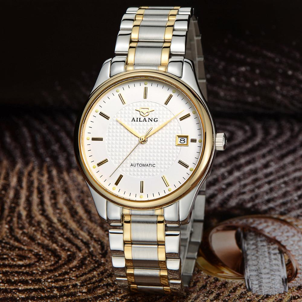 AILANG Elegant British Style Men Calendar Business Watches Full Steel Dress Wristwatch Self Wind Mechanical Relojes 3ATM NW3311