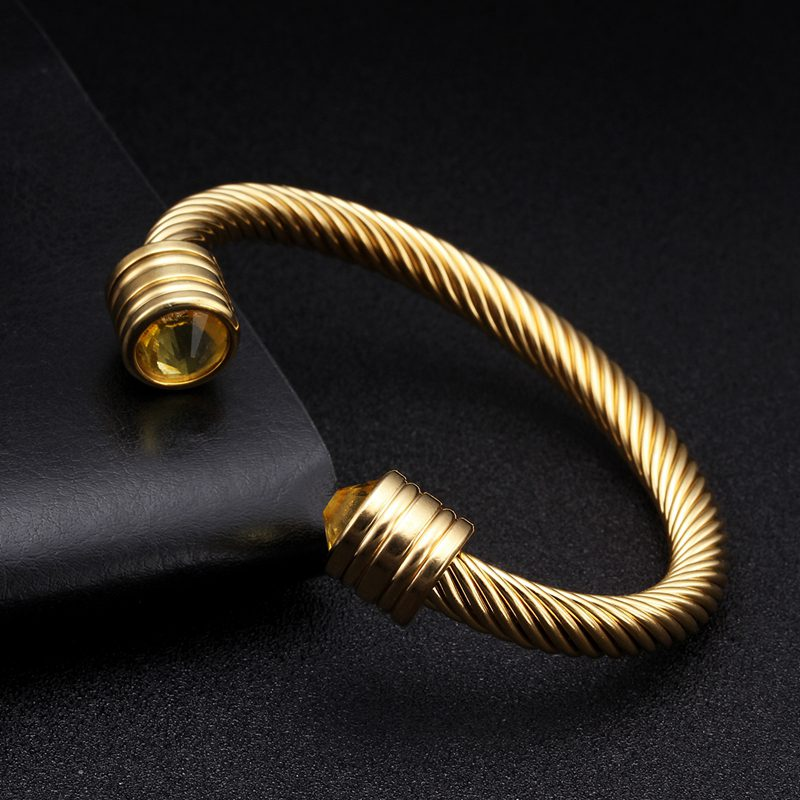 Luxury Braided Charm Open Cuff Men Male Sporty Bangles Trendy Stainless Steel Chain Link Vintage Bracelets With Crystal Jewelry