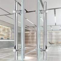 חם H-צורת נירוסטה זכוכית ידית דלת מתכוונן חור מרחק אמבטיה מקלחת/עץ ידית דלת למשוך מוברש /ליטוש