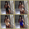 new skinny 4 colors women one piece swimsuit 2016 summer bandage deep v-neck bikini sexy fashion womens beach jumpsuits XD604