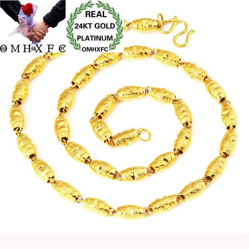 OMHXFC Wholesale European Fashion Man Male Party Wedding Gift Long 50cm Wide  4 5 6mm Olive Real 24KT Gold Chain Necklace NL55OMHXFC Wholesale European Fashion Man Male Party Wedding Gift Long 50cm Wide  4 5 6mm Olive Real 24KT Gold Chain Necklace NL55