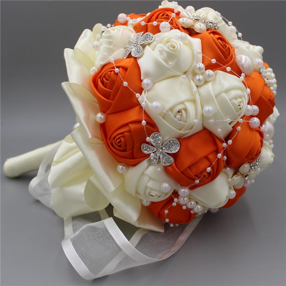 Online Shop Orange Artificial Wedding Bouquet Oem Customized Wedding