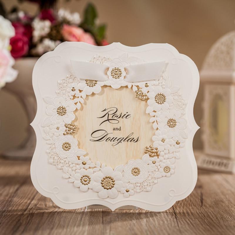 (10 Pieces/lot) Elegant Golden Flower Wedding Invitation Card With RSVP Card  For