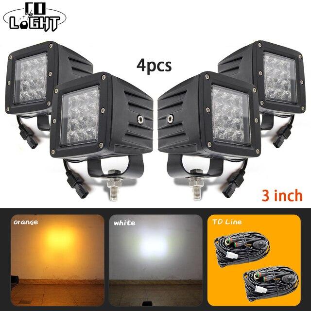 Co Light 1 упак./4 шт. светодиодный свет площадь 3 дюймов 12D 24 Вт 12 В LED лучи вспышка света 24 В 6000 К 3000 К 2 Цвет Туман лампа