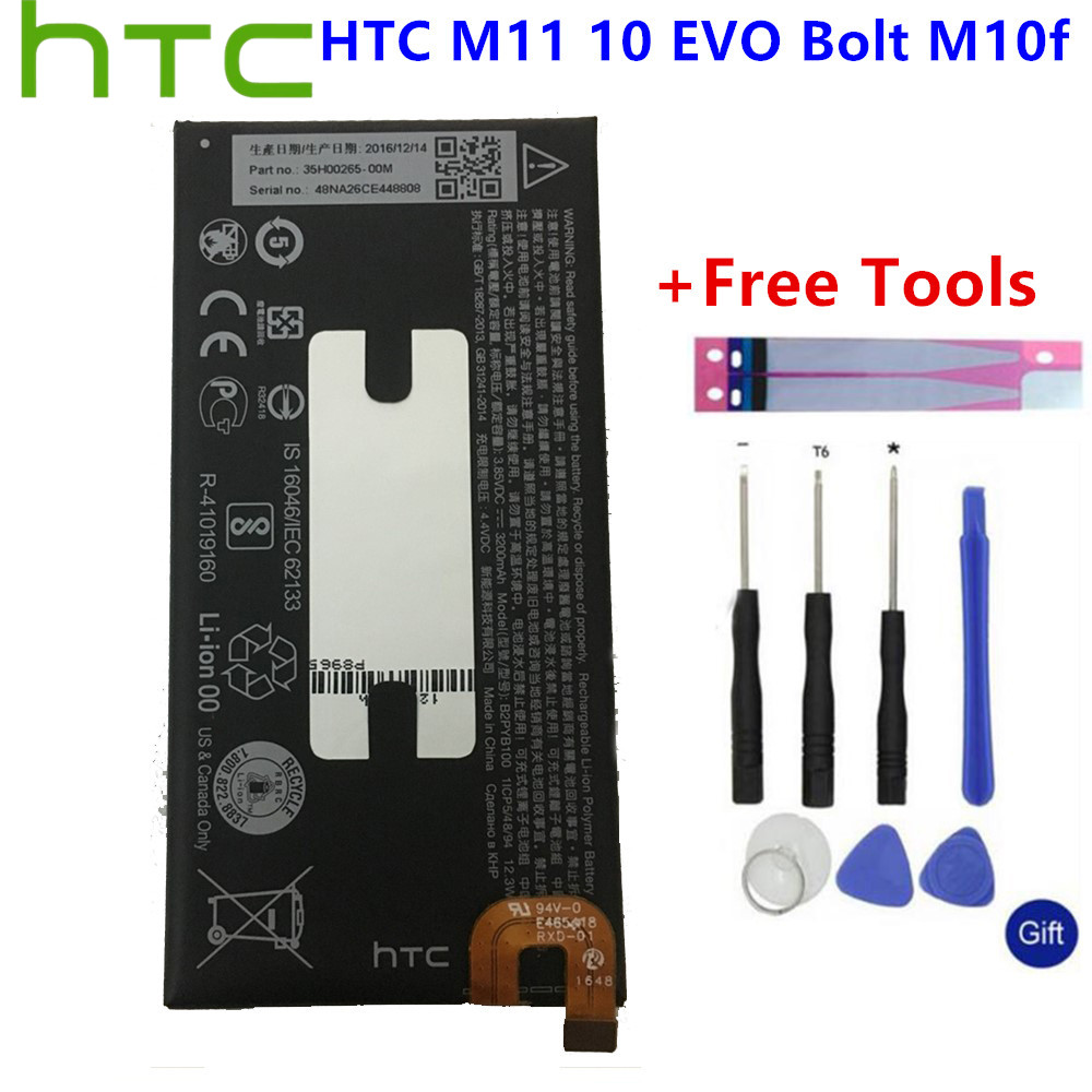 High Capacity Phone <font><b>Battery</b></font> B2PYB100 For <font><b>HTC</b></font> <font><b>10</b></font> Bolt <font><b>Evo</b></font> M10f M11 3200mAh+Gift Tools +Stickers image
