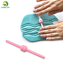 1PC Wave Mold Plastic Sugarcraft Fondant Cake Mold Wave Modelling Tools Decorating Stamper Printing Carving Stick Baking Tools(China)