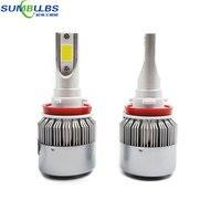 Sumbulbs C9 H11 H8 H9 LED Farol Do Carro Lâmpadas 72 W 7600LM cree chip de tudo em um led farol luz de nevoeiro automóvel 6500 k 9-36 V