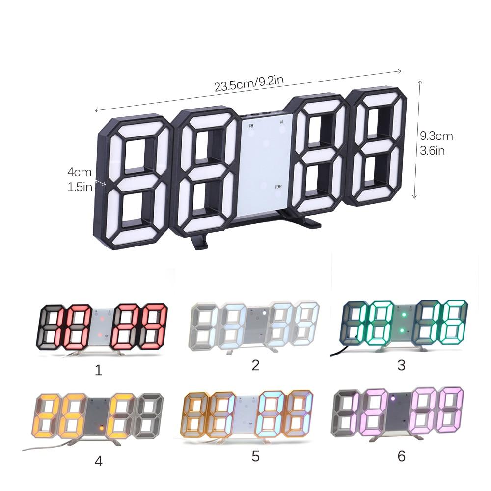3D LED Wall Clock Modern Digital Table Desktop Alarm Clock Nightlight Saat Wall Clock For Home Living Room Office 24 or 12 Hour in Wall Clocks from Home Garden