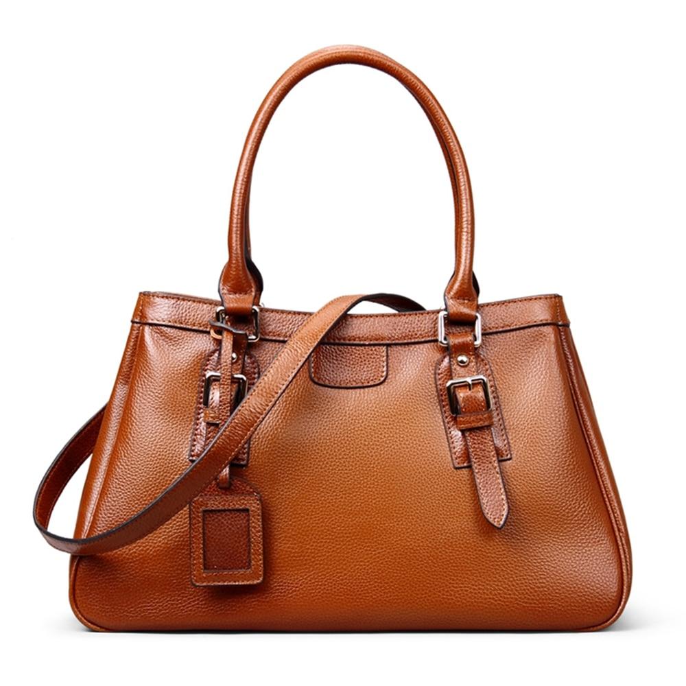 ROCKCOW Brown Genuine Leather Messenger Bag For Women, Lady Shoulder Bag, Tote Bag, Handbags