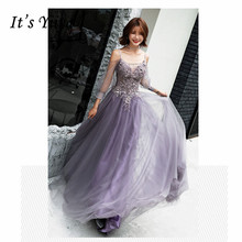 It's YiiYa Evening Dress 2019 Floral Lace Beaded Tulle Long Women Party Dress Strappy Backless Robe de Soiree Plus Size E493