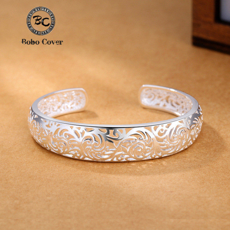 Bobo Cover Silver Vintage opening bracelets & bangle Top quality Hollow carved flowers Bangle for Women Chinese Elements Bijoux