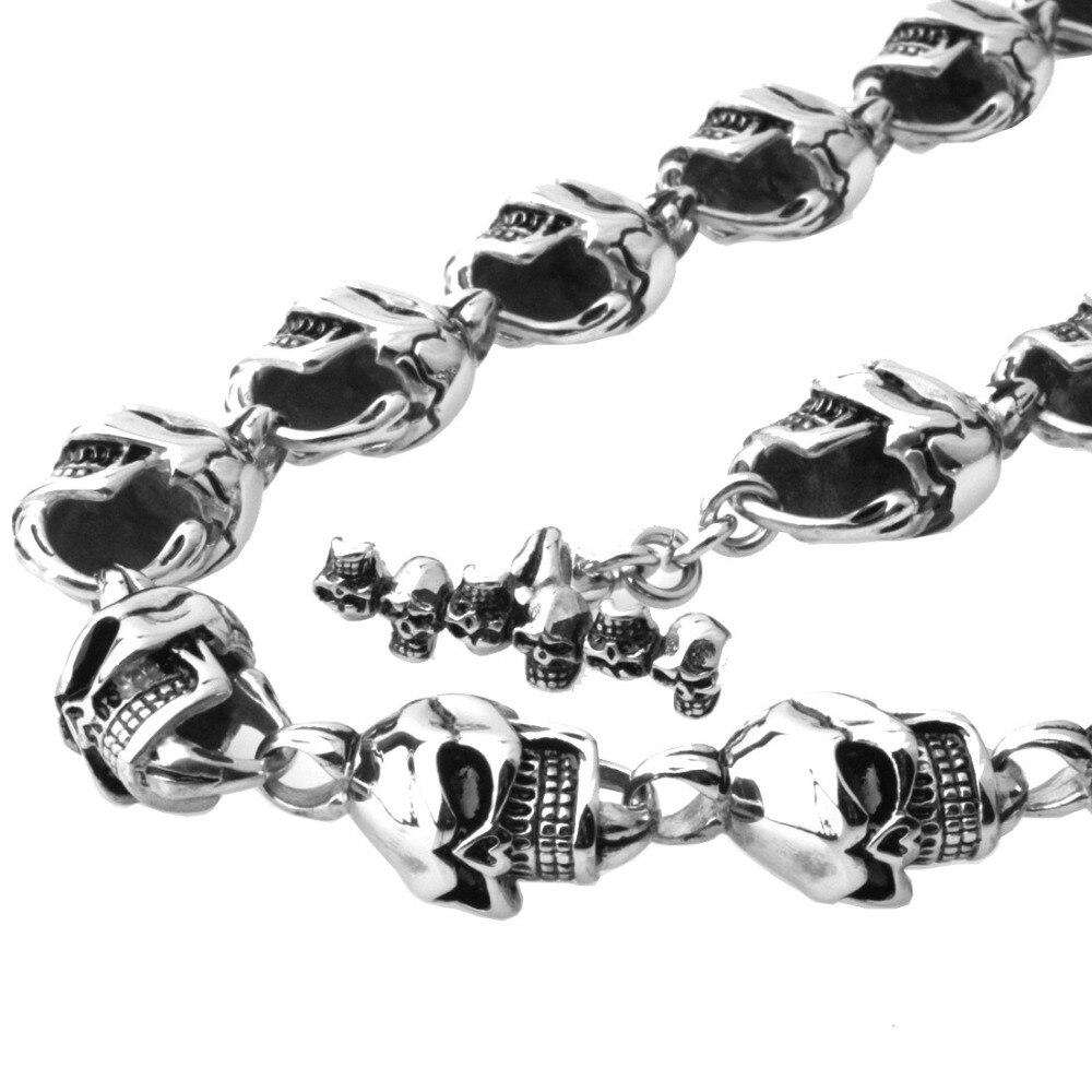 15mm lourd Cool en acier inoxydable 316L argent noir squelette tête de crâne Biker bijoux hommes collier cadeau de noël 28 pouces de Long - 3