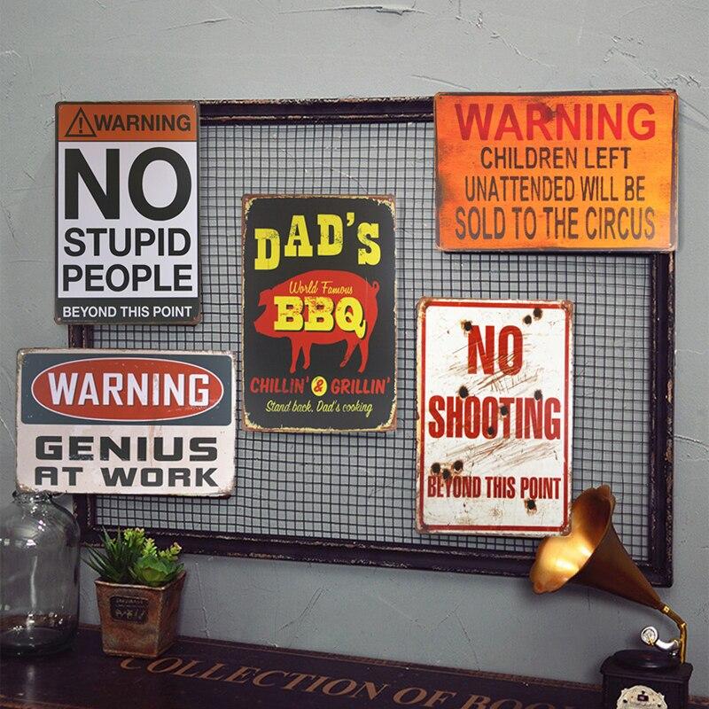 Металл Олово Признаки DADs Принадлежности для шашлыков, Предупреждение выстрел знак налет Barn или пещерный человек ремесло настенная роспись