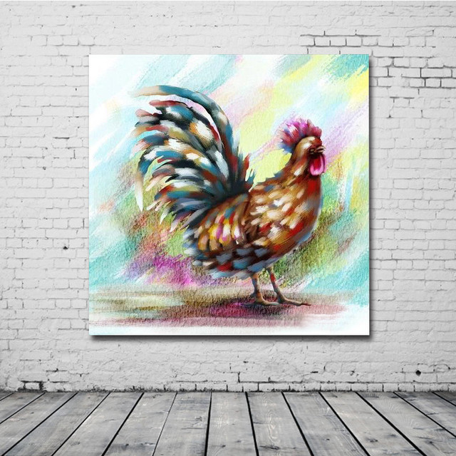 2017 Confetti Rooster Chicken Wall Art Handmade Oil Painting Canvas ...