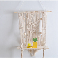 D Ins Home Storage Decor Wall Tapestry with Wood Shelf Macrame Plant Hanger Handmade Knitting Hanging Wall Tapestry Art Gift