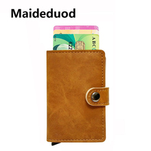 Maideduod 2018 Men And Women Credit Card Holder Single Box Pu Leather Vintage Mini Safe Aluminum Antimagnetic Purse Card Case