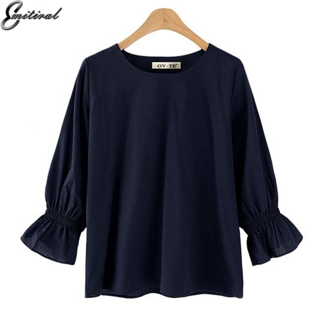 Emitiral 2018 Autumn Summer Women Shirts Polyester Simple Round