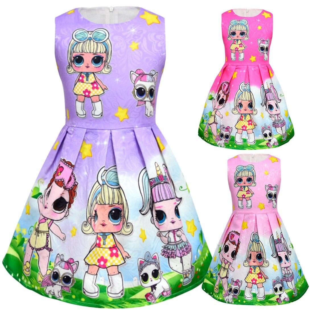 Lol muñecas Bebé Vestidos 2018 verano elegante vestido lindo niños fiesta de Navidad trajes niños ropa princesa Lol niñas vestido