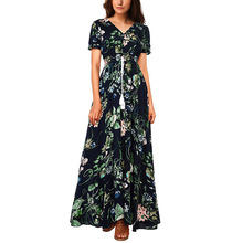 High Quality New Bohemian Retro Floral Print Dress Holiday Sexy V Neck Loose Long Summer Beach Party Dresses