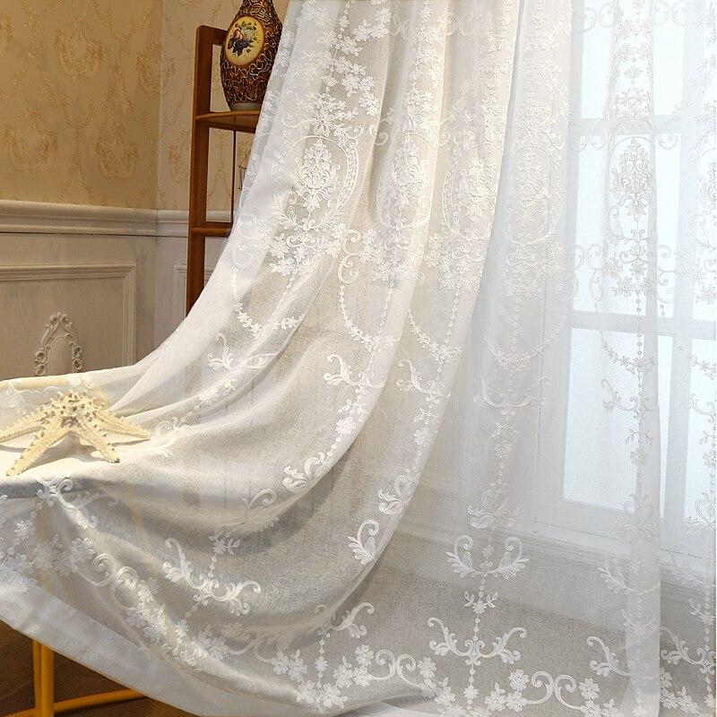 [Byetee] вышитая белая, тонкая, прозрачная ткань тюль прозрачная занавес s шифрование занавес s Тюль гостиная Rideaux Voilage