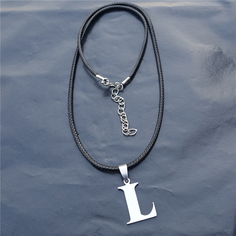 1pc fashion men alphabet l stainless steel letter pendant necklace with black rope