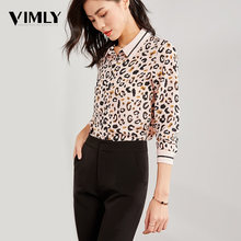 Vimly Women Chiffon Leopard Print Blouse Ladies Office Elegant Long Sleeve Blouse Shirt Casual Turn Down Collar Tunic Shirt(China)
