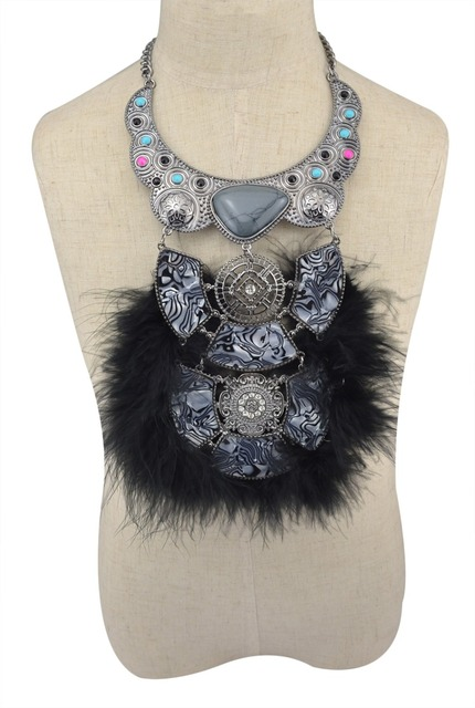 Fashion Ethnic Bib Statement Necklace Crystal Feather Necklaces & Pendants High Quality Soft Glam Feather Necklaces For Women
