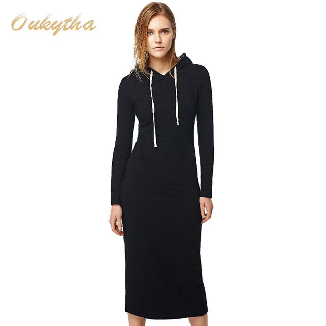 Nuevo 2017 de otoño e invierno las mujeres palabra de longitud caderas estilo largo con capucha dress de señora dress casual engrosamiento dress m15322