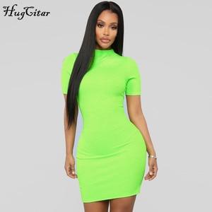 Image 3 - Hugcitar מצולעים לסרוג ניאון ירוק orange קצר שרוול t חולצה bodycon מיני שמלת 2019 קיץ נשים streetwear מסיבת בגדים