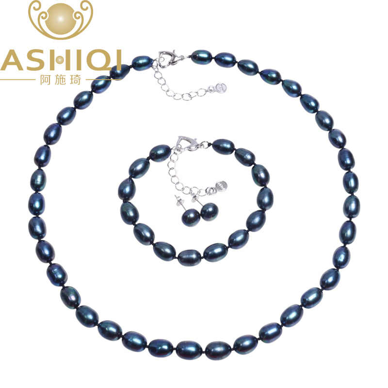 ASHIQI Genuine Natural Pearl Jewelry sets,7-8mm Black Freshwater Pearl Necklace Bracelet Earrings, 925 Sterling silver earrings