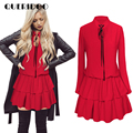 QURIDOO Spring red long sleeve cascading ruffle women party dress 2017 summer elegant women vintage ball gown dress
