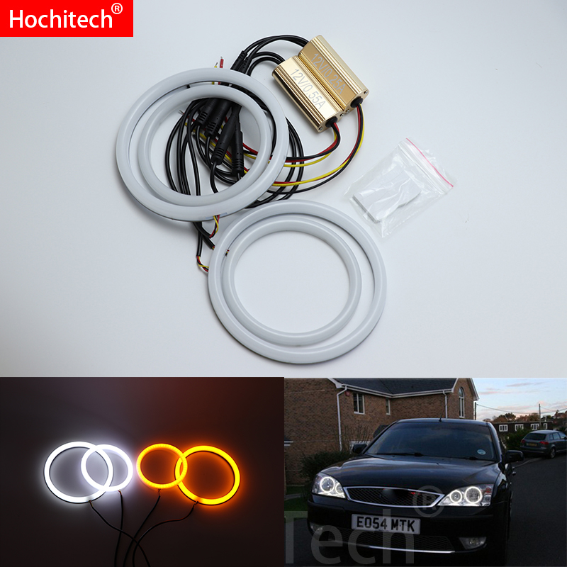 For FORD Mondeo MK3 2001 2007 White Amber Dual color Cotton LED Angel eyes kit halo