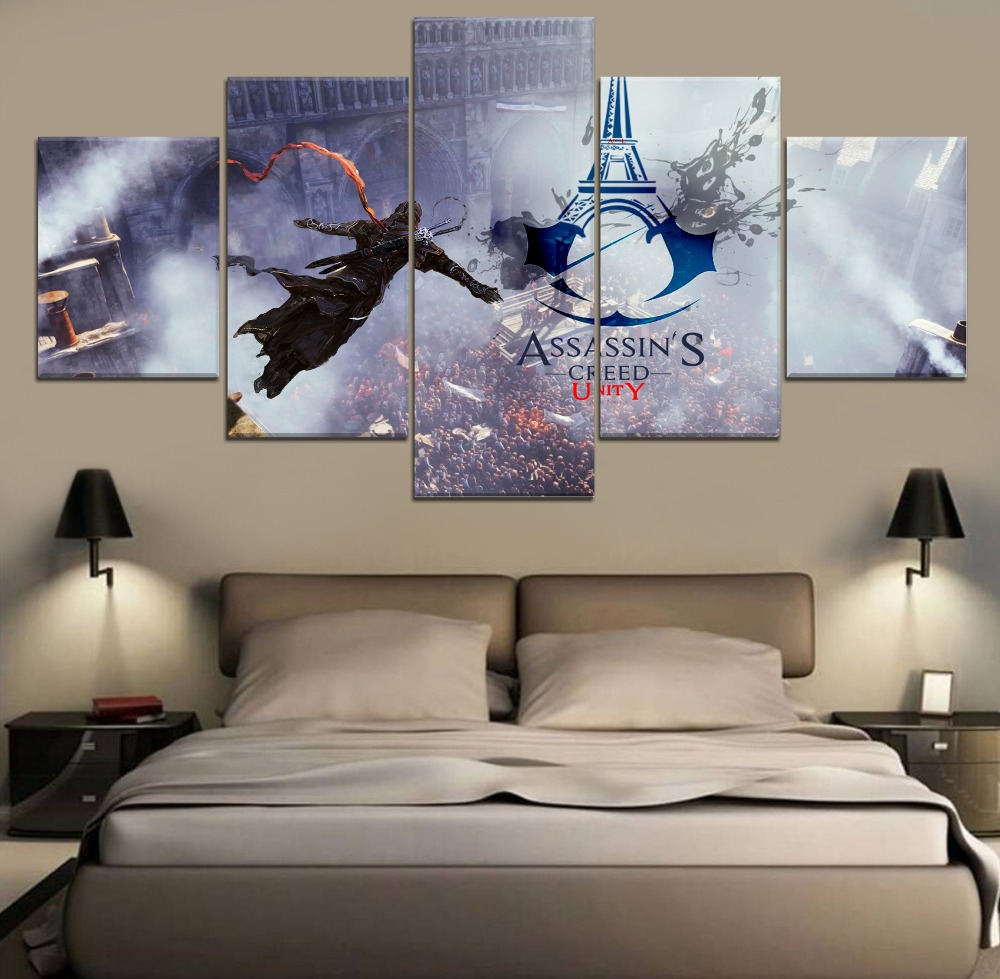 Assassins Creed Unity Modern Canvas Wall Art Canvas Wall Art Painting 5 Piece Canvas HD Print Painting For Living Room Artwork image