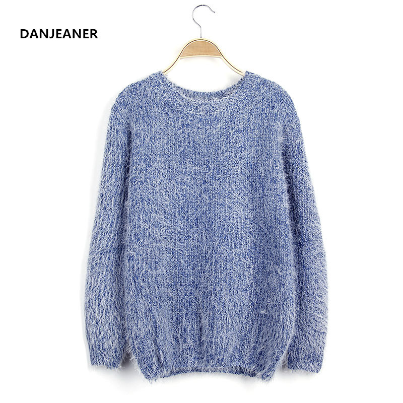 Danjeaner Women Round Neck Long Sleeve Mohair Sweaters Casual Solid Candy Colors Warm Knitting Pullovers Jumper Winter Coat Tops