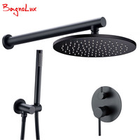Brass Black Shower Set Bathroom Faucet Ceiling Or Wall Shower Arm Diverter Mixer Handheld Spray Sets With 8 16 Rian Shower Head