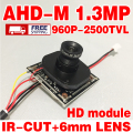 Leia big venda! hd 2500tvl Acabados mini câmera Do Monitor de módulo de chip 1/4 CMOS 1.3Mp adh-m 12/8/6mm lente 3.0mp opcional IR-CUT