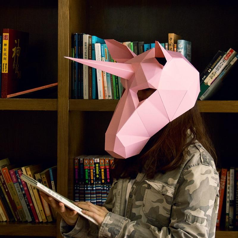 Nouveau Cosplay Costume Licorne Masque Papier Tête Couverture Adulte carton Respirant Halloween Party Decor Partie Tricky Drôle Masque