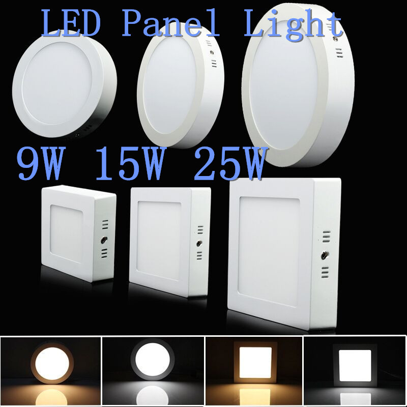 9W 15W 25W Round/Square Surface Mounted LED Ceiling Light Panel Light Down Light AC85-265V LED indoor Light 9w 15w 25w led surface ceiling light squaer panel led down lamp ac85 265v warm white natural white cold white led indoor light
