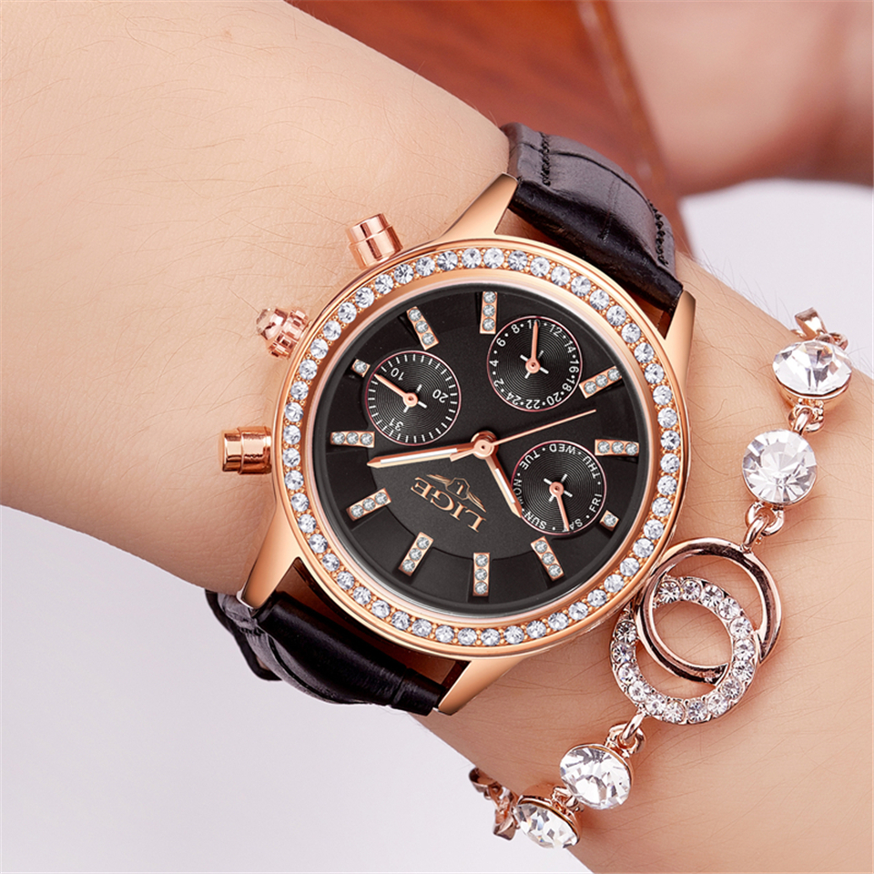 LIGE Women Watches Brand Luxury Girl Diamond Dial Golden Leather Ladies Gift Watch Women Dress Clock Calendar Relogio Feminin
