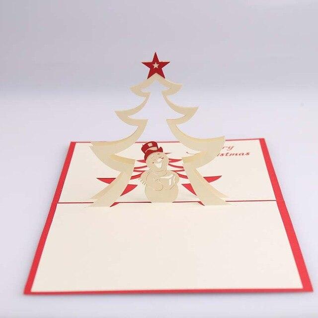 Christmas tree snowman 3d laser cut pop up paper handmade christmas tree snowman 3d laser cut pop up paper handmade postcards custom christmas greeting cards m4hsunfo