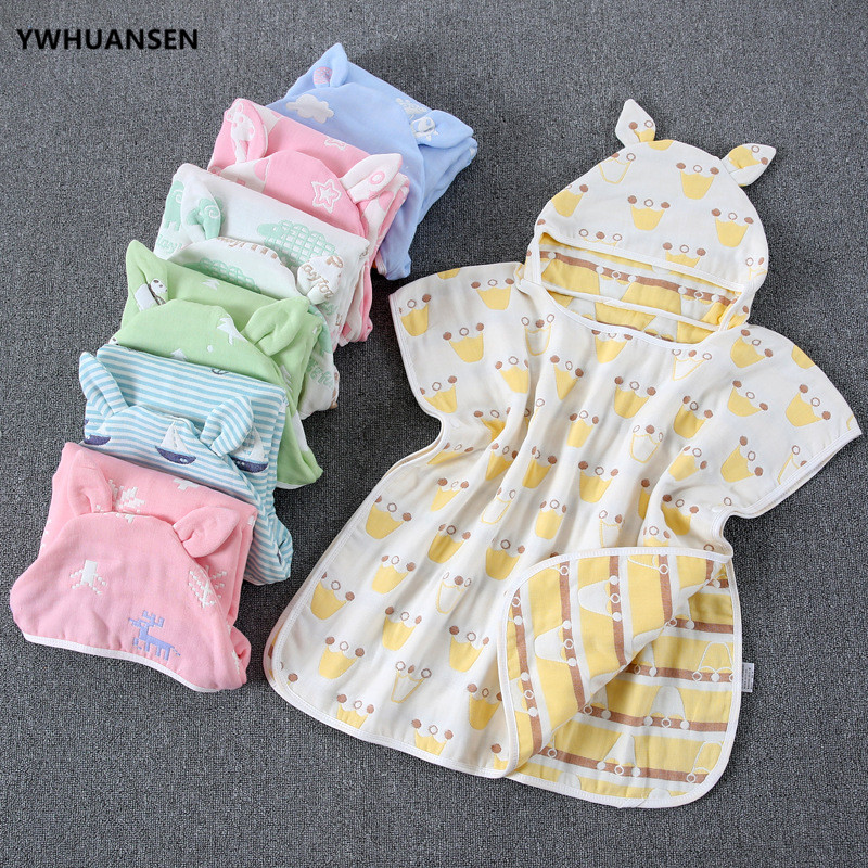 YWHUANSEN 60*60cm 6 Layers Gauze Hooded Beach Towel Cotton Baby Cape Towels Soft Poncho Kids Bathing Stuff For Babies Washcloth