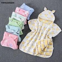 YWHUANSEN 60*60cm 6 Schichten Gaze Mit Kapuze Strand Handtuch Baumwolle Baby Cape Handtücher Weich Poncho Kinder Bade Sachen für Babys Waschlappen