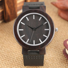 купить Lightweight Wooden Watch Simple Walnut Ebony Wood Watch Quartz Natural Leather Strap Wristwatch Mens Gift relojes para hombre дешево