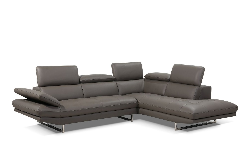 Modern living room corner sofa with Italy genuine leather ...